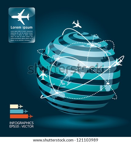 infographic airplane connections network concept design / vector illustration - stock vector