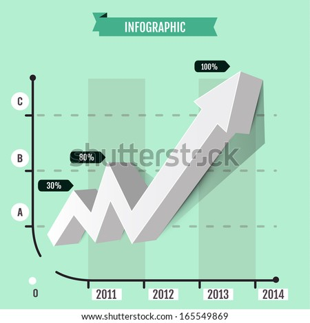 Infographic arrow  diagram graph chart-going up profits or earnings - stock vector