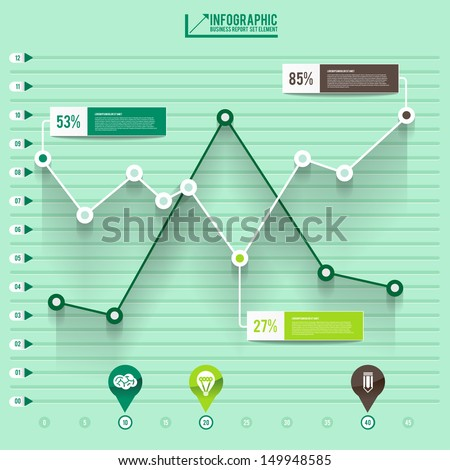 infographic arrow diagram graph chart on the green pastel blackground with flat design and long shadow. can be use element for layout design , website printing , annual report - stock vector