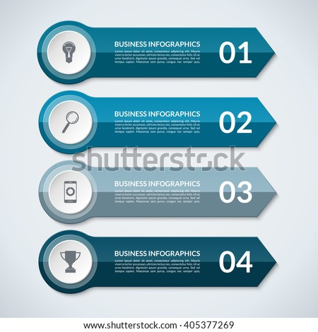 Infographic arrows. Abstract design template for infographics. Vector banner with 4 steps, parts, options, stages. Can be used for data visualization, workflow layout, chart, diagram, web design - stock vector