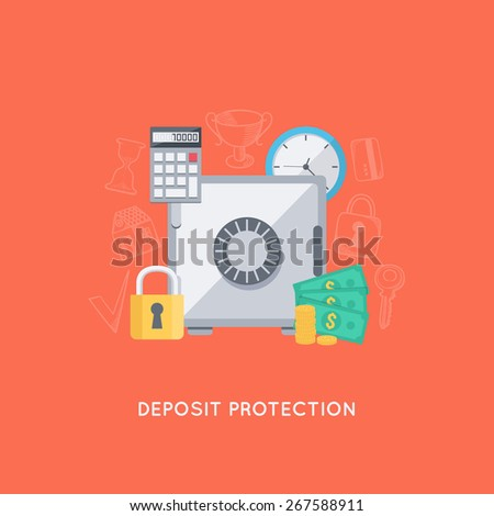 Infographic background. Bank deposit protection. Modern flat design template.  - stock vector