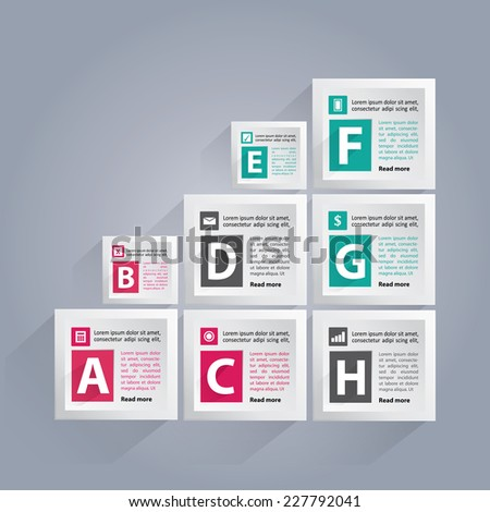 Infographic background with lettered white cubes, different icons and area for your text - stock vector