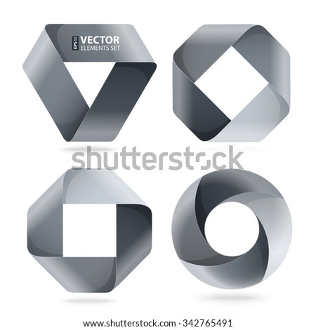 Infographic black and grey curled paper triangle, rectangle and circle shapes on white background. RGB EPS 10 vector illustration - stock vector