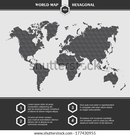 Infographic black World Map symbols and typography - stock vector