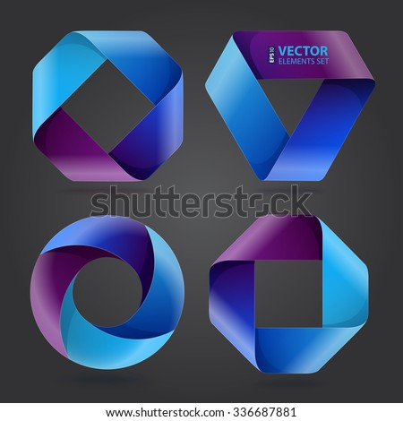 Infographic blue and purple curled paper triangle, rectangle and circle shapes on dark grey background. RGB EPS 10 vector illustration - stock vector