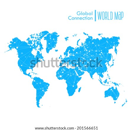 Infographic blue World Map symbol with global network connections - stock vector