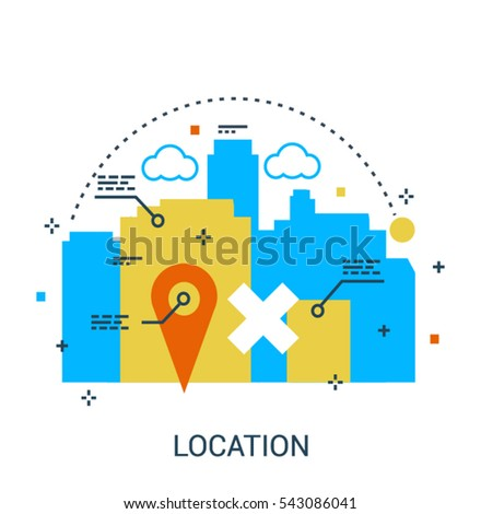 Infographic bright flat design concept of Location. Modern thin line set for Website Element, Mobile websites and Apps.