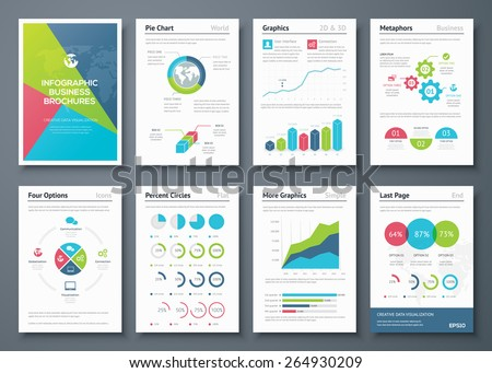 Infographic brochures and business graphic elements. Vector illustrations of modern info graphics. Use in website, flyer, corporate report, presentation, advertising, marketing etc. - stock vector