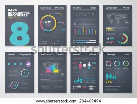 Infographic brohucres with fresh colors on a black background. Big set of modern infographic vector elements for web, print, magazine, flyer, brochure, media, marketing and advertising concepts.