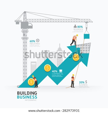 Infographic business arrow shape template design.building to success concept vector illustration / graphic or web design layout. - stock vector