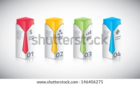 Infographic business bar with tie vector illustration - stock vector