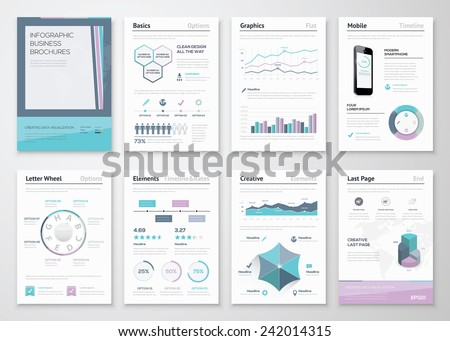 Infographic business brochures for corporate data visualization. Big set of modern infographic vector elements for web, print, magazine, flyer, brochure, media, marketing and advertising concepts. - stock vector