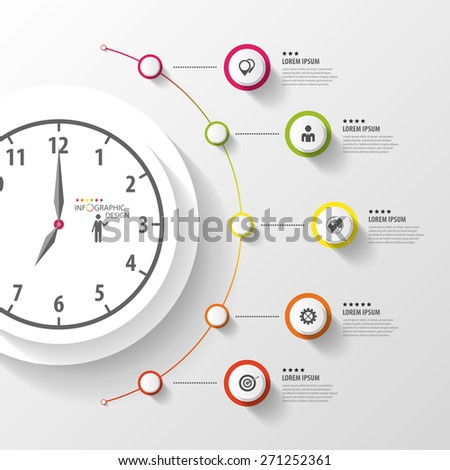Infographic. Business Clock. Colorful circle with icons. Vector - stock vector