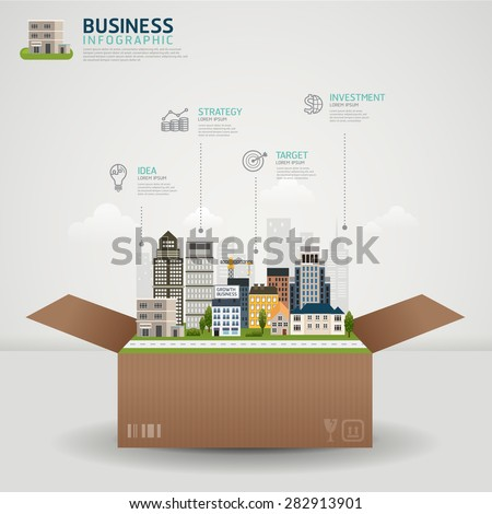 Infographic Business concept. business box with glowing city town earth globe success concept - stock vector