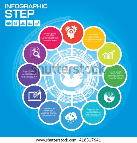 Infographic Business Concept - Creative Idea with icons for presentation, booklet, website etc. - stock vector