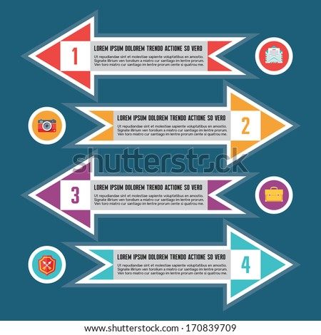 Infographic Business Concept - creative vector horizontal arrows banners.