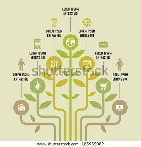 Infographic Business Concept for Presentation - Vector Scheme with Icons. Ecology or organic products infographic concept. Design elements. Vector icons set.  - stock vector