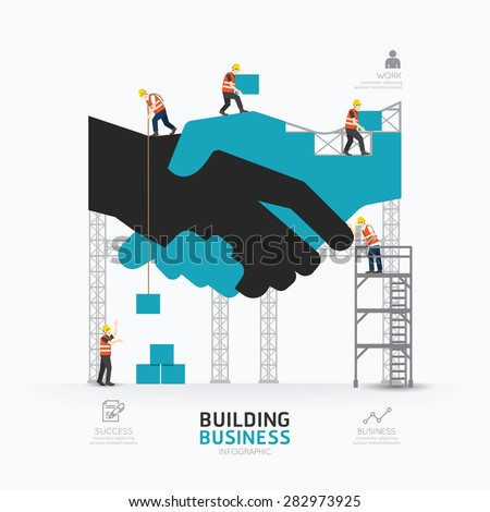 Infographic business handshake shape template design.building to success concept vector illustration / graphic or web design layout. - stock vector