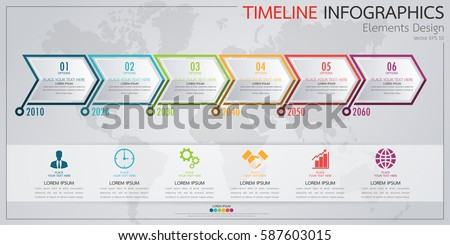 Infographic Business Horizontal Timeline Process Chart Stock Vector - Timeline chart template