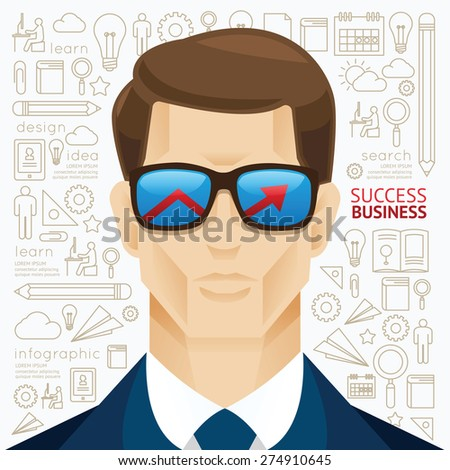 Infographic business man face arrow shape on sungrass template design. people success concept vector illustration / graphic or web design layout.