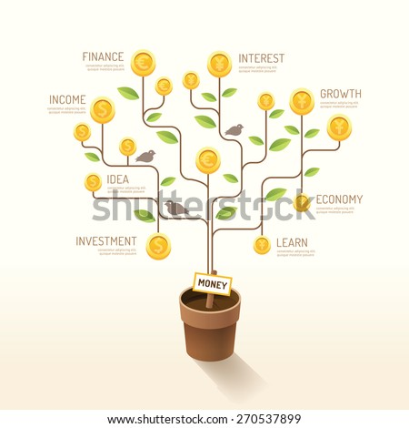Infographic business money plant and coins flat line idea. Vector illustration. finance currency growth concept. can be used for layout, banner and web design. - stock vector