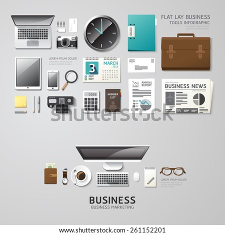 Infographic business office tools flat lay idea. Vector illustration hipster concept. can be used for layout, advertising and web design. - stock vector