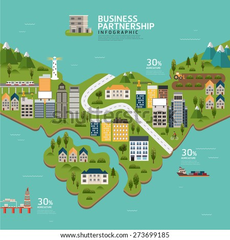 Infographic business partnership shape template design.business success concept vector illustration - stock vector