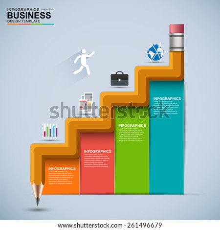 Infographic business staircase education vector design template - stock vector