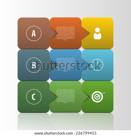 Infographic business template. Squares style Vector - stock vector