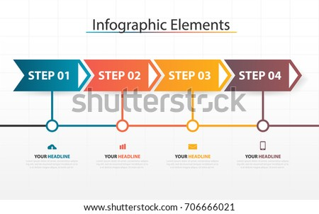 Infographic Business Timeline Process Chart Template Stock Vector