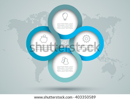 Infographic Circle Diagram With Dots World Map Back Drop - stock vector