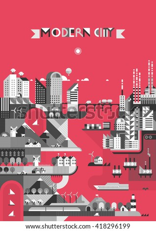 Infographic - City on a red background. Modern city, industry, ecosystem and travel. Flat design - stock vector
