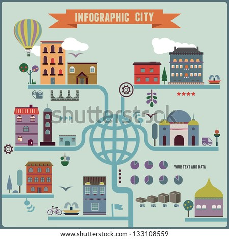 Infographic city - vector illustration - stock vector