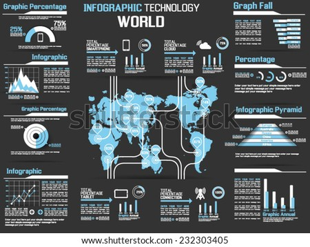 INFOGRAPHIC COLLECTION ELEMENT TECHNOLOGY WORLD HEAVENLY - stock vector
