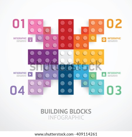 Infographic color building blocks banner Template. concept vector illustration - stock vector