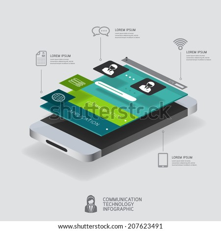 infographic communication and connection concept with smartphone illustration 3d vector perspective view design
