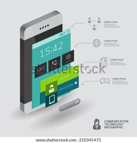 infographic communication and connection concept with smartphone illustration 3d vector perspective view design  - stock vector