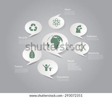 Infographic composition with eco icons. - stock vector