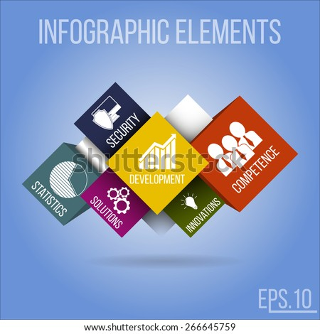 Infographic concept. Vector infographic elements with integrated business icons for development, statistics, competence, solutions, security & innovations. - stock vector