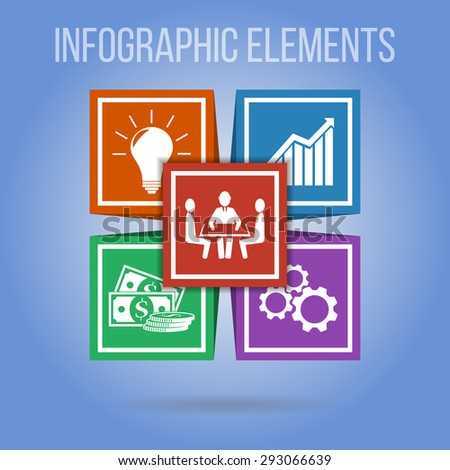 Infographic concept. Vector infographic elements with integrated icons for development, innovations, solution, investment, teamwork, ideas on the blue background. - stock vector