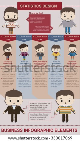 Infographic concept  with cartoon people in flat style. Business infographics vector - stock vector