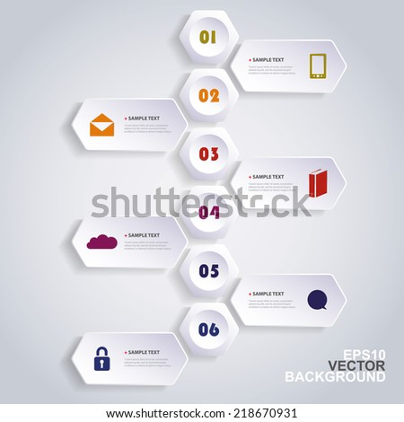Infographic Concept with Hexagons - Flow Chart Design - Timeline - stock vector