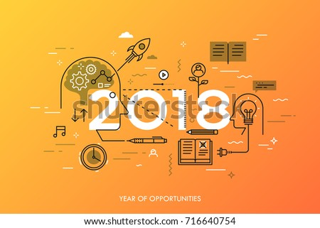 Infographic Concept 2018 Year Opportunities New Stock Photo (Photo