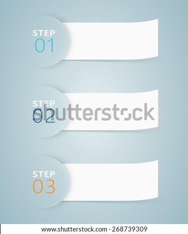 Infographic 3D Numbered Step Ribbons 3  - stock vector