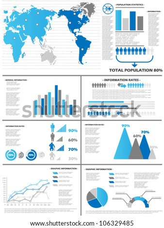 INFOGRAPHIC DEMOGRAPHICS 6 BLUE - stock vector