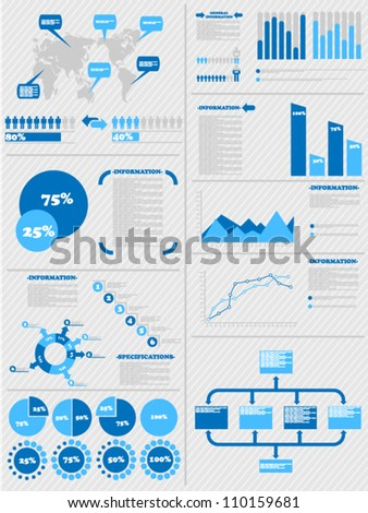 INFOGRAPHIC DEMOGRAPHICS 5 BLUE - stock vector