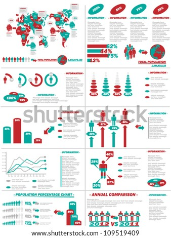 INFOGRAPHIC DEMOGRAPHICS WEB ELEMENTS RED - stock vector