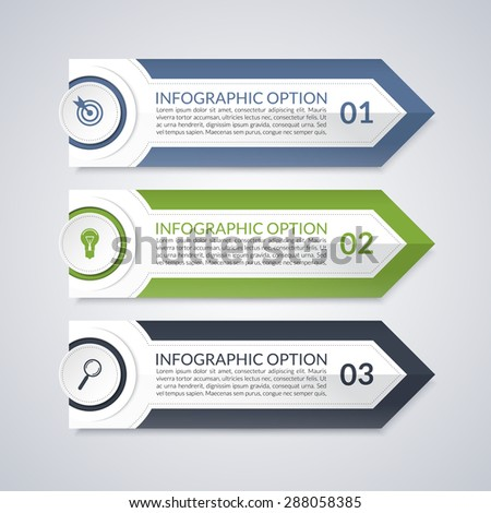 Infographic design arrow options template. 3 steps - stock vector