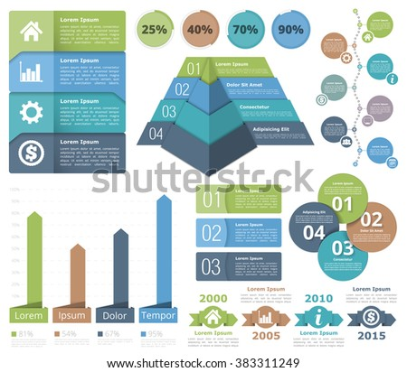 Infographic design elements - flowchart, bar graph, pyramid chart, process diagram, progress indicators, timeline, circle diagram, objects with numbers and text, vector eps10 illustration - stock vector