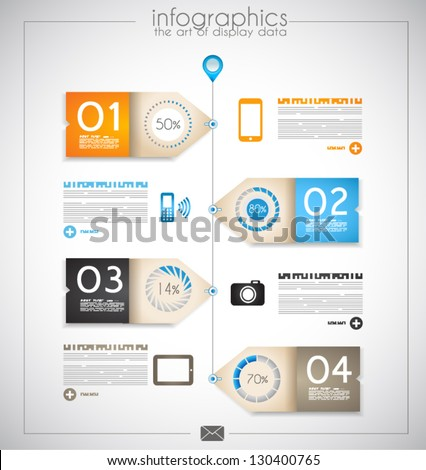 Infographic design for product ranking - original paper geometric shape with shadows. Ideal for statistic data display. - stock vector
